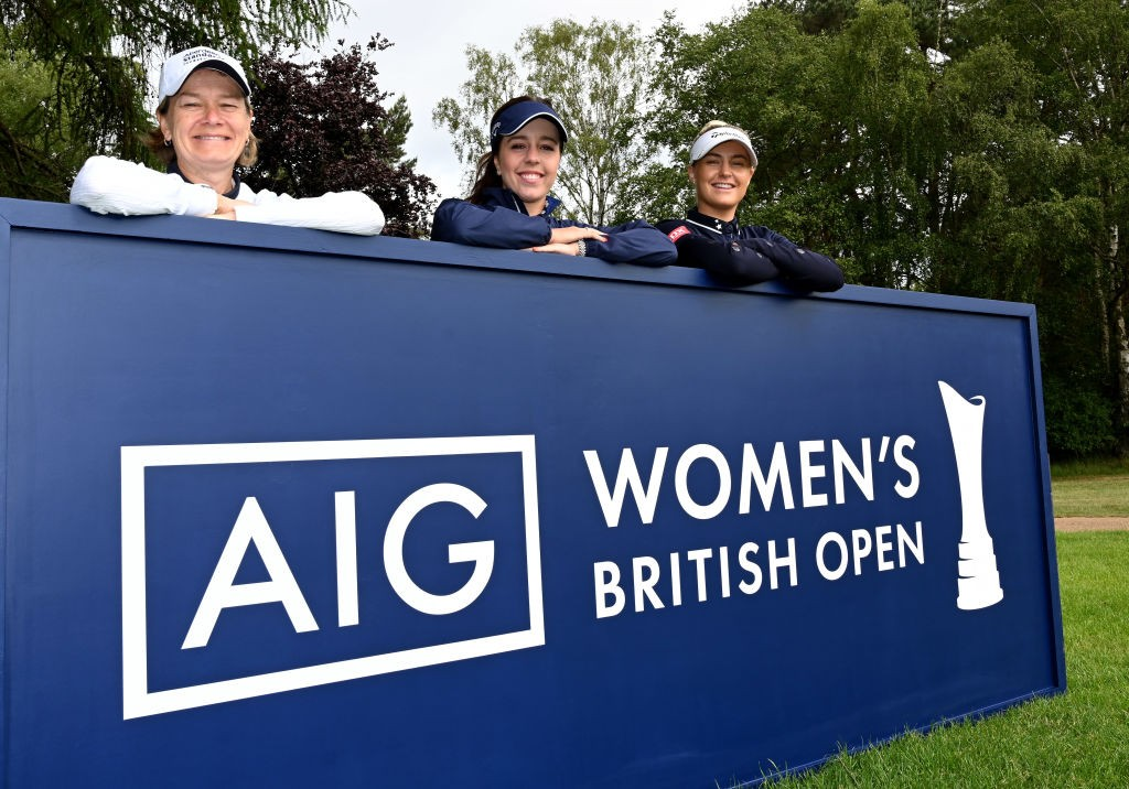 Catriona Matthew, Georgia Hall and Charlie Hull at Woburn Golf Club for the AIG Women's British Open media day