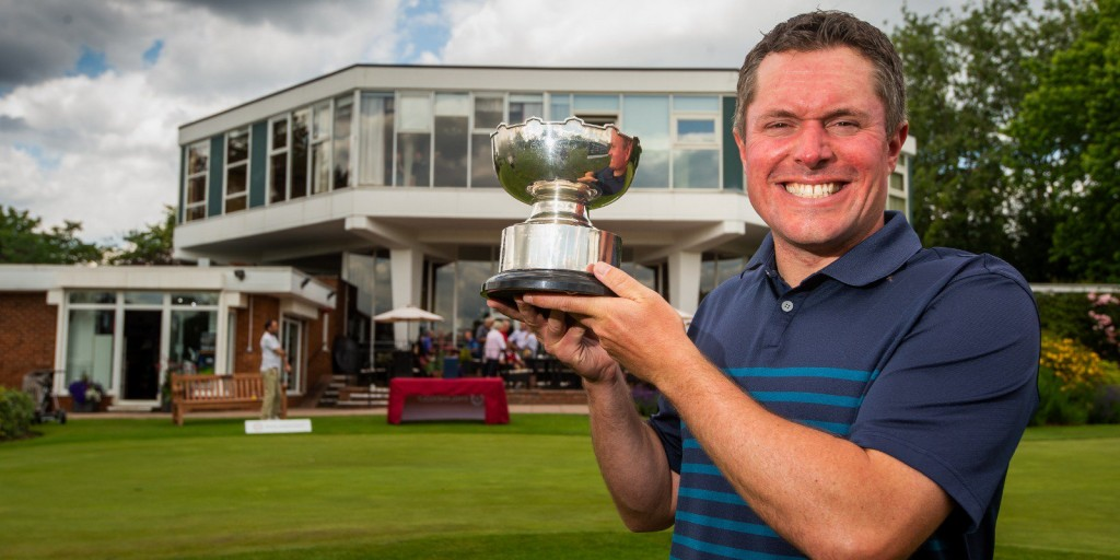 2019 English Mid-Amateur Champion Geoff Harris with the Logan Trophy at The Leicestershire