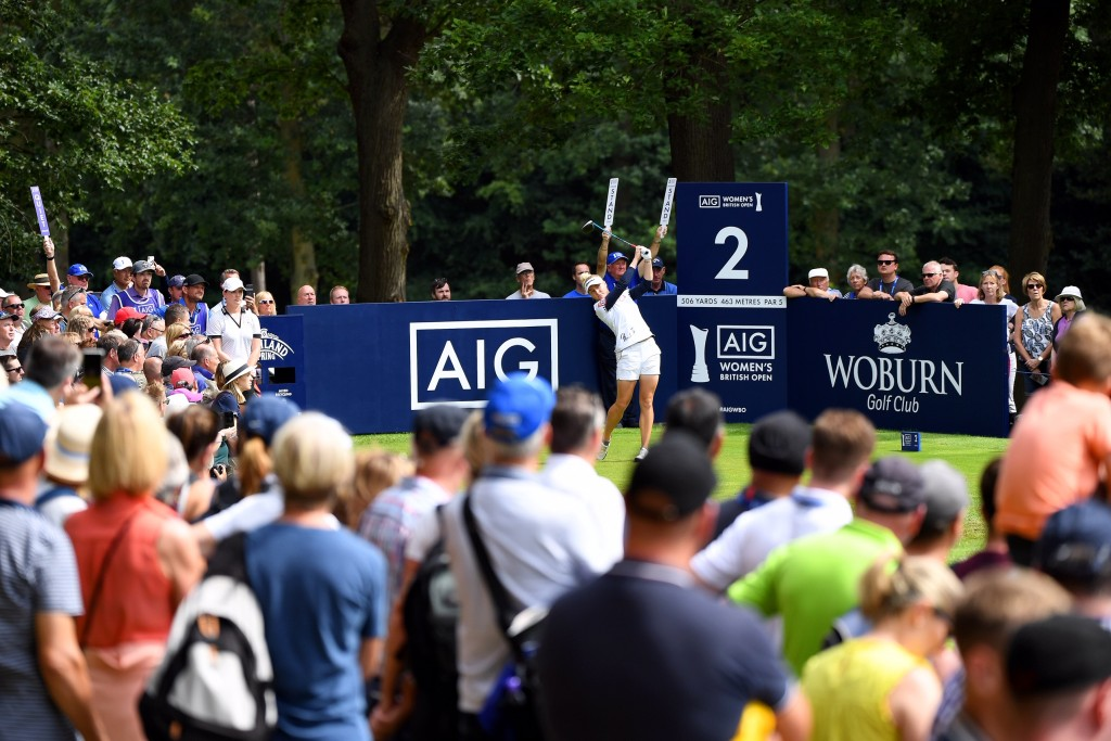 Charley Hull at the second hole at Woburn in the third round of the AIG Women's British Open