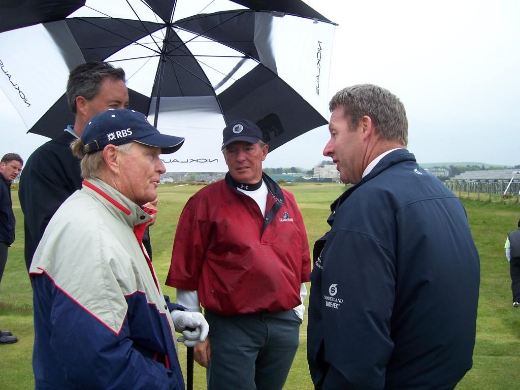 Gordon Moir (right), next year's BIGGA vice-president, talking to Jack Nicklaus at St Andrews