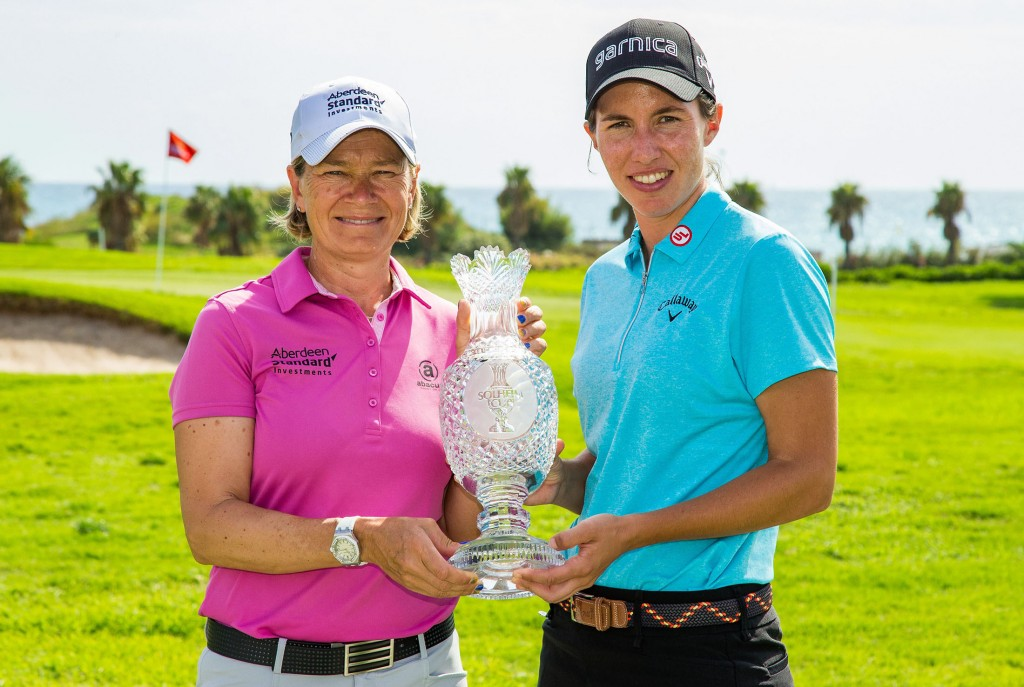 Catriona Matthew and Spain's Carlota Ciganda with the Solheim Cup in Spain