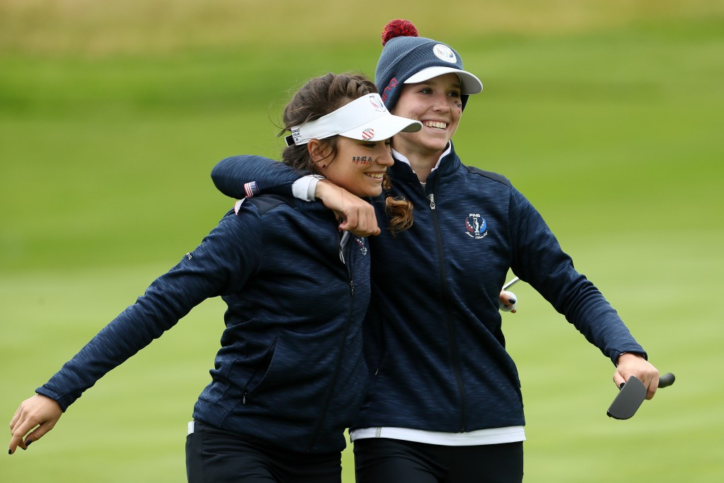 Americans Sadie Englemann (left) and Rachel Heck celebrate victory over Hannah Darling and Annabell Fuller in the fourballs on the first day of the Ping Junior Solheim Cup at Gleneagles. PIcture by JAMIE SQUIRE WWE / IMG