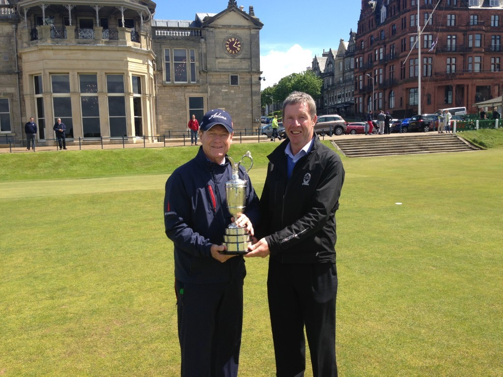 Gordon Moir (right) with Tom Watson holding the Claret Jug at St Andrew's