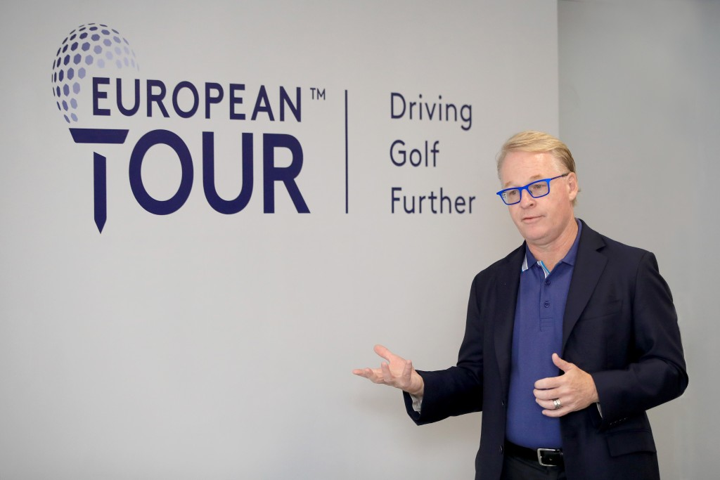 European Tour chief executive Keith Pelley unveiling its new brand identity at Wentworrth