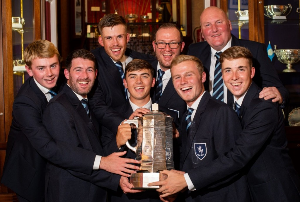 The first Kent team to win the English County Championship since 1978 – left to right: Jensen Hull, Liam Burns, Josh Bristow, Ben Quinney, Tom Sherreard, Mason Essam, Danny Curtis (capt), Jacob Kelso. Picture by LEADERBOARD PHOTOGRAPHY