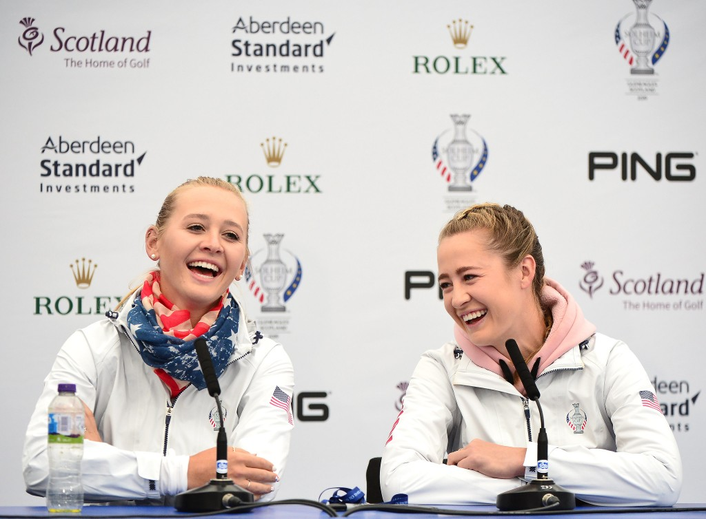 American Solheim cup teammates Jessica Korda (left), and Nelly Korda at Gleneagles