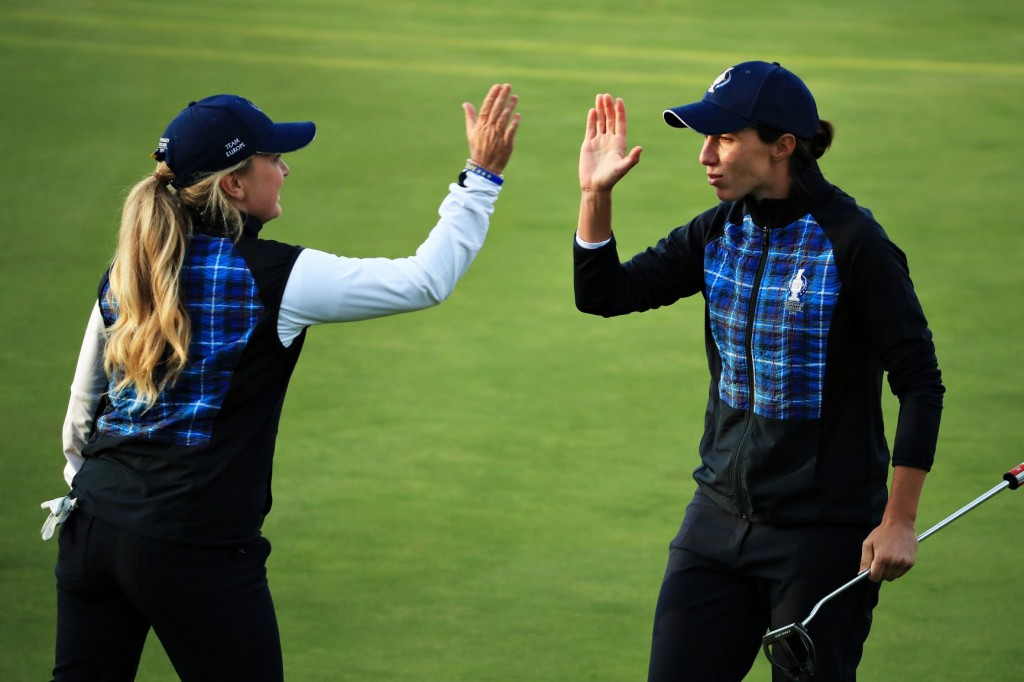 Team Europe's Bronte Law and Carlota Ciganda take a 1/2 point in the afternoon fourball. Image credit Getty Images