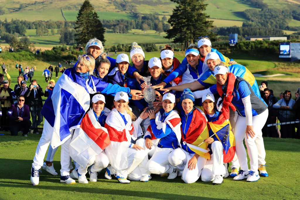 AUCHTERARDER, SCOTLAND - SEPTEMBER 15: Team Europe celebrate winning the Solheim Cup during the final day singles matches of the Solheim Cup at Gleneagles on September 15, 2019 in Auchterarder, Scotland. (Photo by David Cannon/Getty Images)