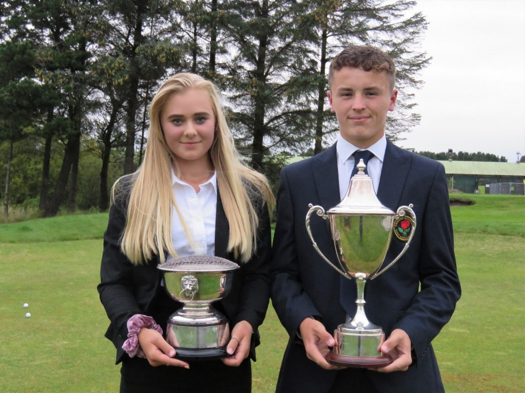 English Schools Champions Louise Burke (left) from Dorset, and Yorkshire's Josh Berry