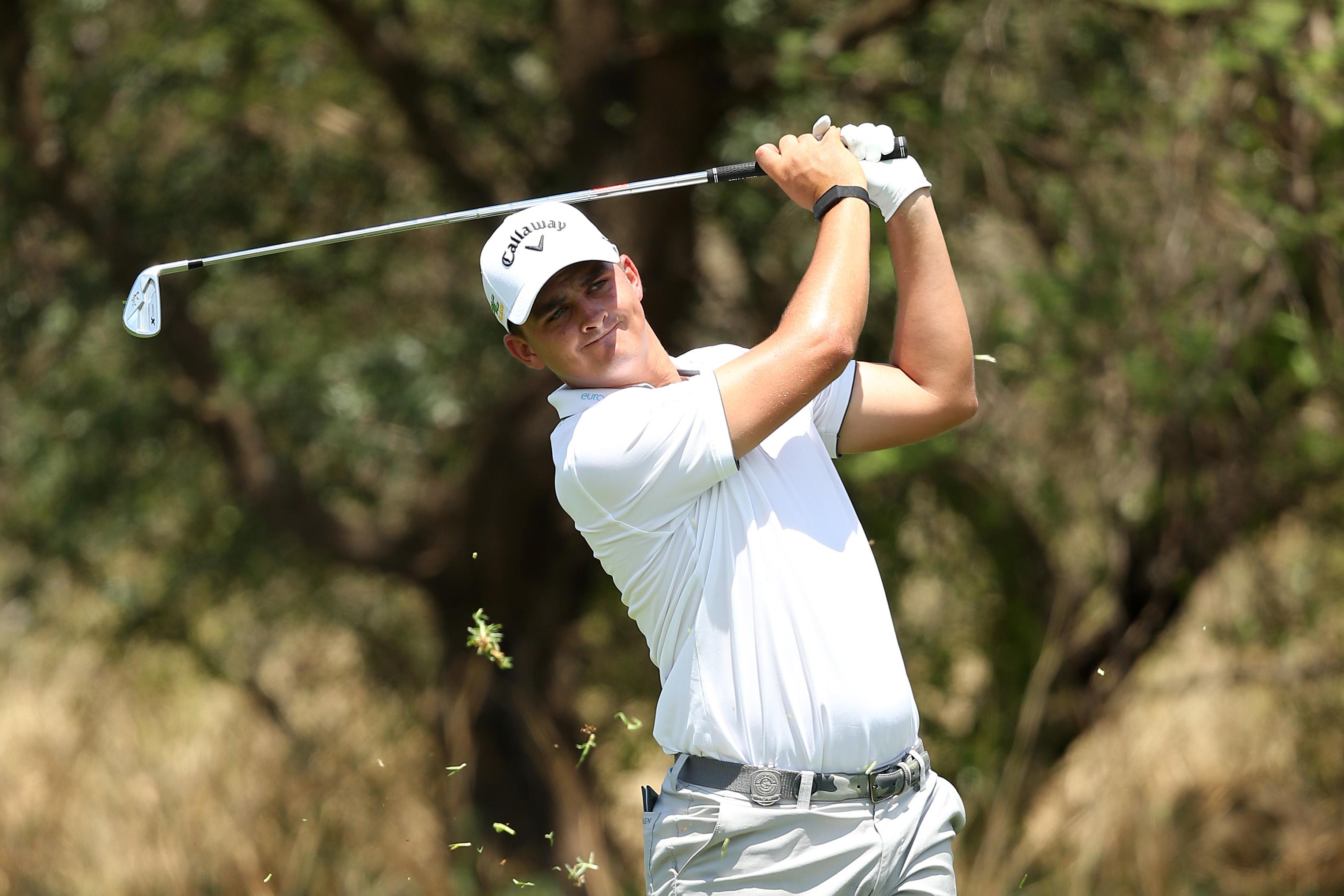 Christiaan Bezuidenhout practicising at the 2019 Nedbank Golf Challenge at Sun City