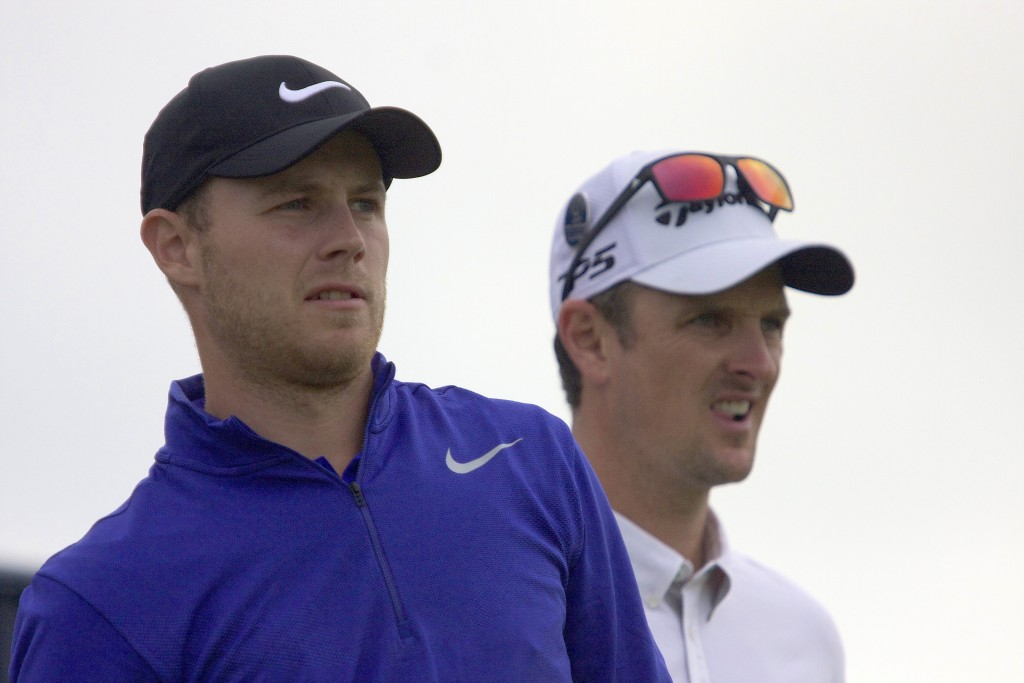 HARRY Ellis (left) with Justin Rose at the 2017 Open Championship at Royal Birkdale
