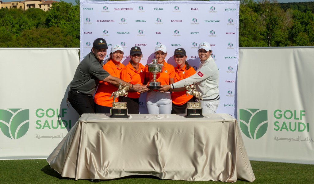 2019 Major Champions Invitational team winners with Sir Nick Faldo and Annika Sorenstam