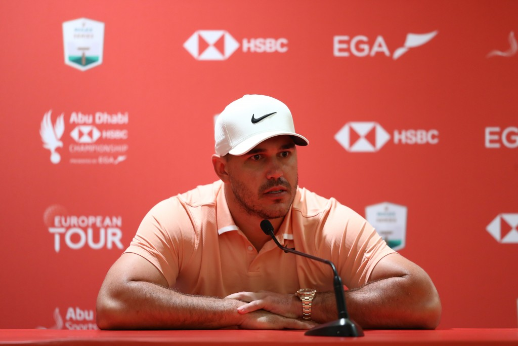 BROOKS KOEPKA talks to reporters during practice at the 2020 Abu Dhabi HSBC Championship having missed the Presidents Cup in December