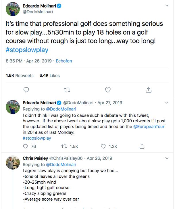 Edoardo Molinari's first tweet on slow play on Twitter