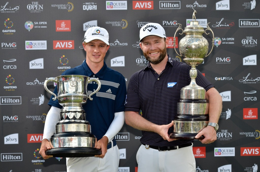 Jayden Schaper (left) with the Freddie Tait Cup and 2020 South African Open winner Branden Grace