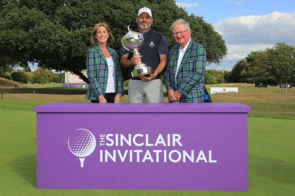 2019 Sinclair Invitational winner David Shacklady with Corrine and Duncan Sinclair, who will raise money for Caring Matters now in 2020