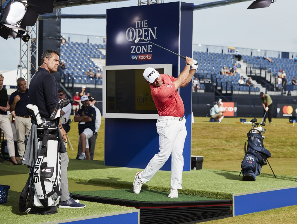Lee Westwood on the Zen Green Stage in Sky Sports Open Zone at Royal Birkdale at the 2017 Open