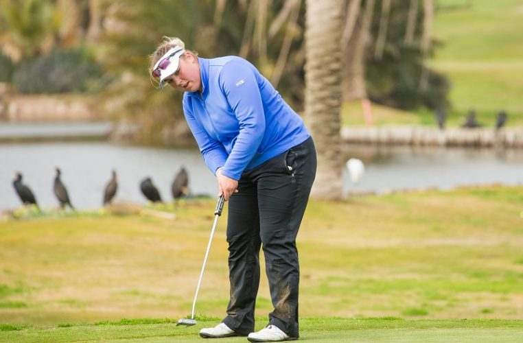 Alice Hewson playing in the third round of the LET Q-School at La Manga