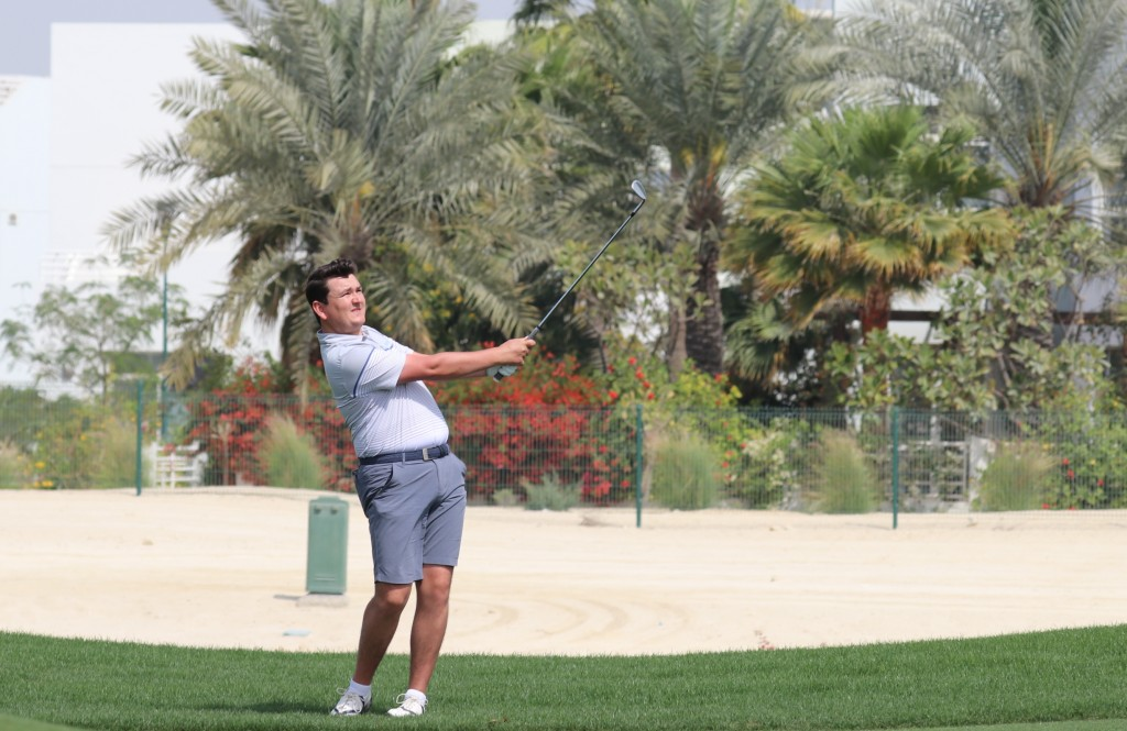 Knebworth's Jamie Rutherford pracitising before the first round of the 2020 Royal Golf Club Bahrain Open