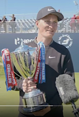 2019 Betfred British Masters winner Marcus Kinhult at Hillside GC, in May