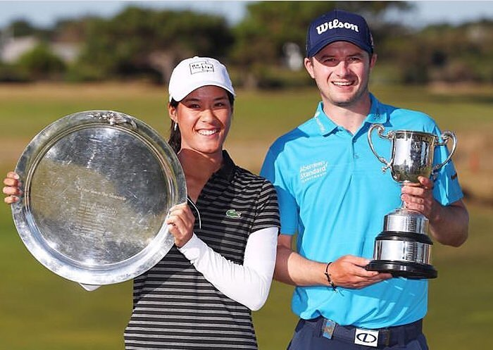 The 2019 ISPS Handa Vic Open winners Celine Boutier and David Law