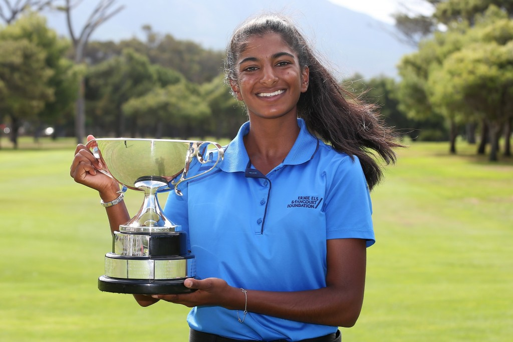 Kaiyuree Moodley winner of the Jacky Mercer Trophy for the leading amateur at the 2020 Investec South African Women's Open