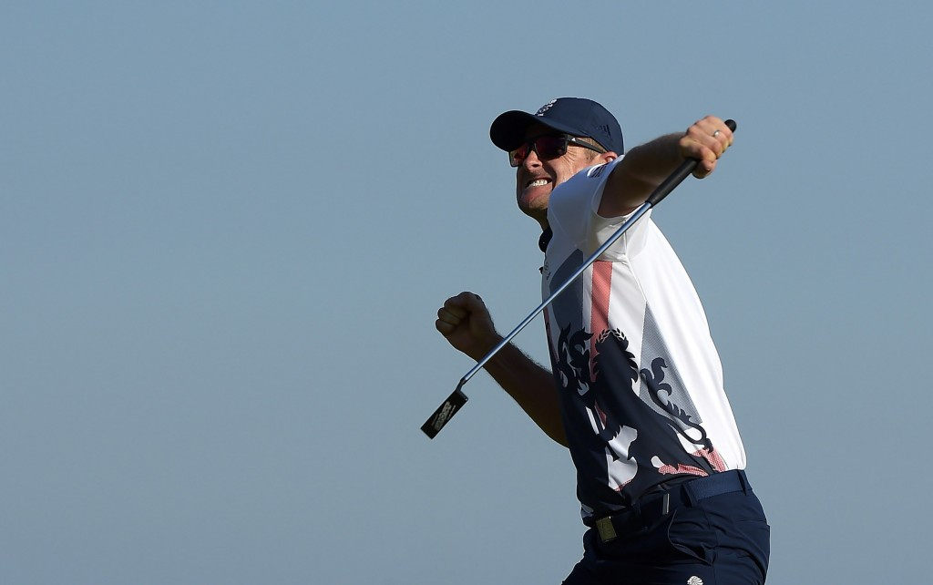 eRIO DE JANEIRO, BRAZIL - AUGUST 14: Justin Rose of Great Britain celebrates winning the first Olympic Gold Medal in 112 years at the Rio 2016 Olympic Games at the Olympic Golf Course on August 14, 2016 in Rio de Janeiro, Brazil. (Photo by Stan Badz/PGA TOUR/IGF)