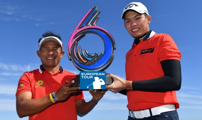 2019 GolfSixes winners Thongchai Jaidee (left) and Phachara Khongwatmai, from Thailand