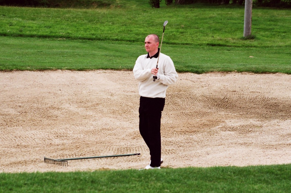 Marlborough Golf Club's former Wiltshire county captain Jeremy Tomlinson playing in the 2002 Wiltshire Amateur Championship at Hamptworth Golf & Country Club