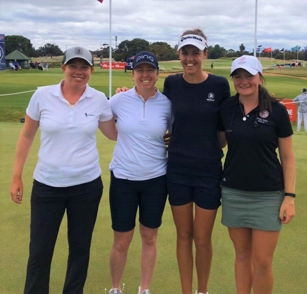 England players Felicity Johnson, Hannah Burke, Meghan MacLaren and Charlotte Heath on the practice ground at the 2020 Vic Open