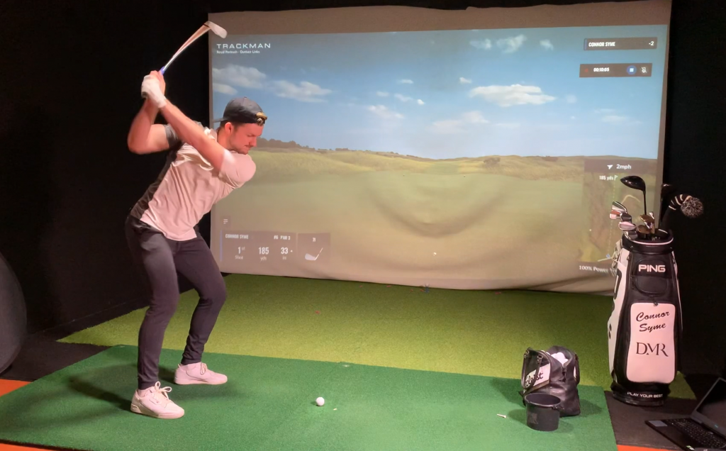 BMW Indoor Invitational winner Connor Syme who shot an eight-under par 64 on a simulator of Royal Portrush