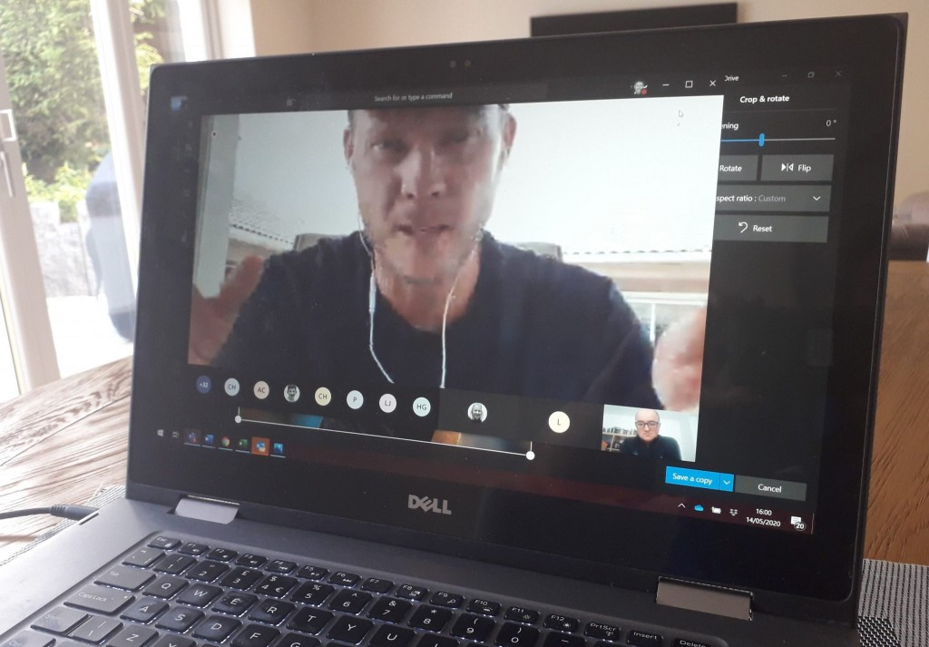 Danny Willett talking to England squad members in an online Q&A