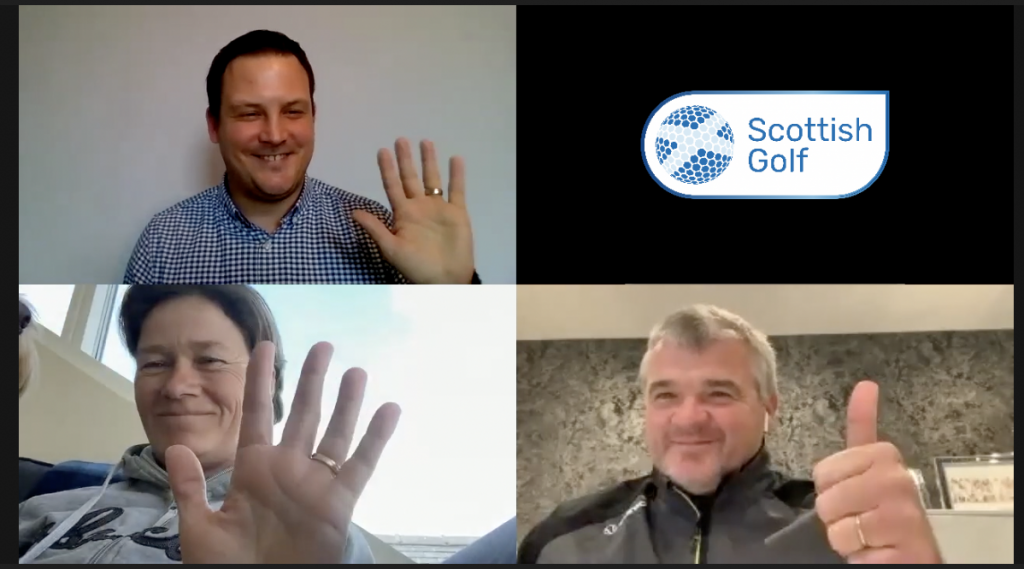 Paul Lawrie and Catriona Matthew took part in Scottish Golf's Zoom call