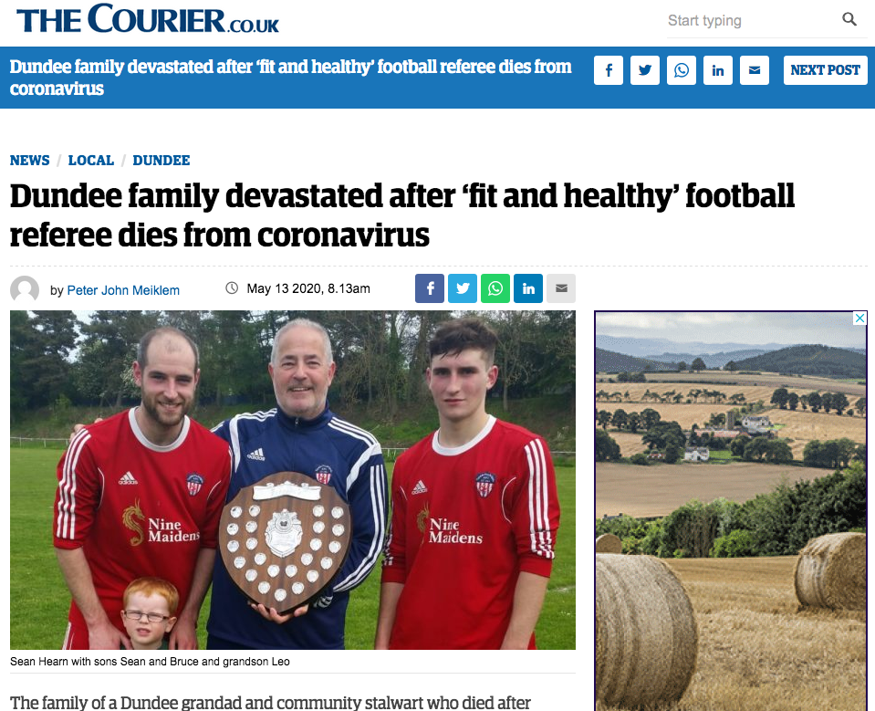 Coverage of the death of charity worker Stuart Hearn, a volunteer with the Food Train