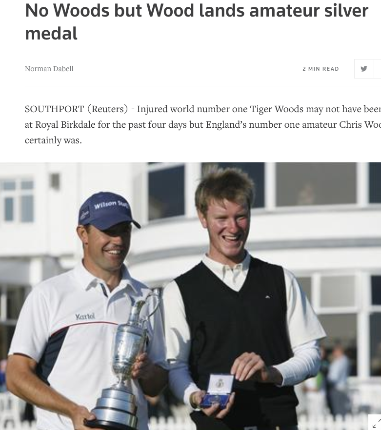 Chris Wood with the Silver Medal at the 2008 Open at Royal Birkdale