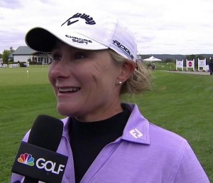 Kent's former LET and LPGA star Karen Stupples, who is part of Golf Channel's commentary team for the LPGA e-Tour  The
