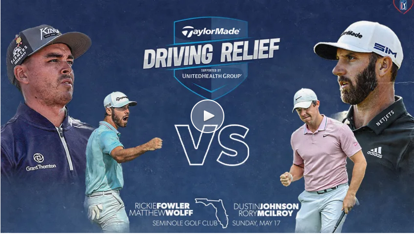 The two teams in the 2020 TaylorMade Driving Relief skins match at Seminole Golf Club, including world No. 1 Rory McIlroy