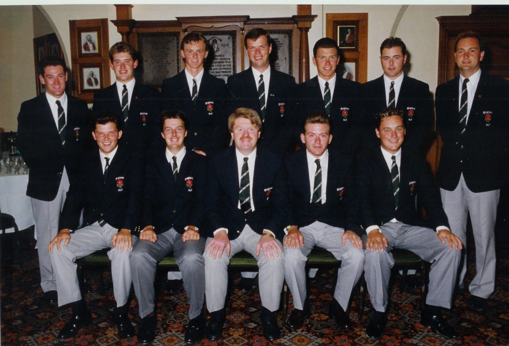 The England team with Lee Westwood at he 1993 Home Internationals at Royal Liverpool Golf Club