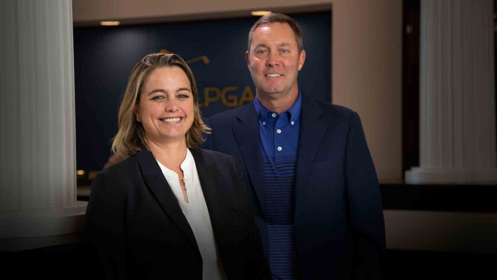 LET chief executive Alexandra Armas (left) with LPGA commissioner Mike Whan