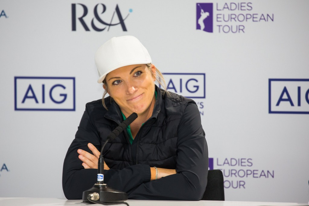 Mel Reid at a press conference at the 2019 Scottish Ladies Open