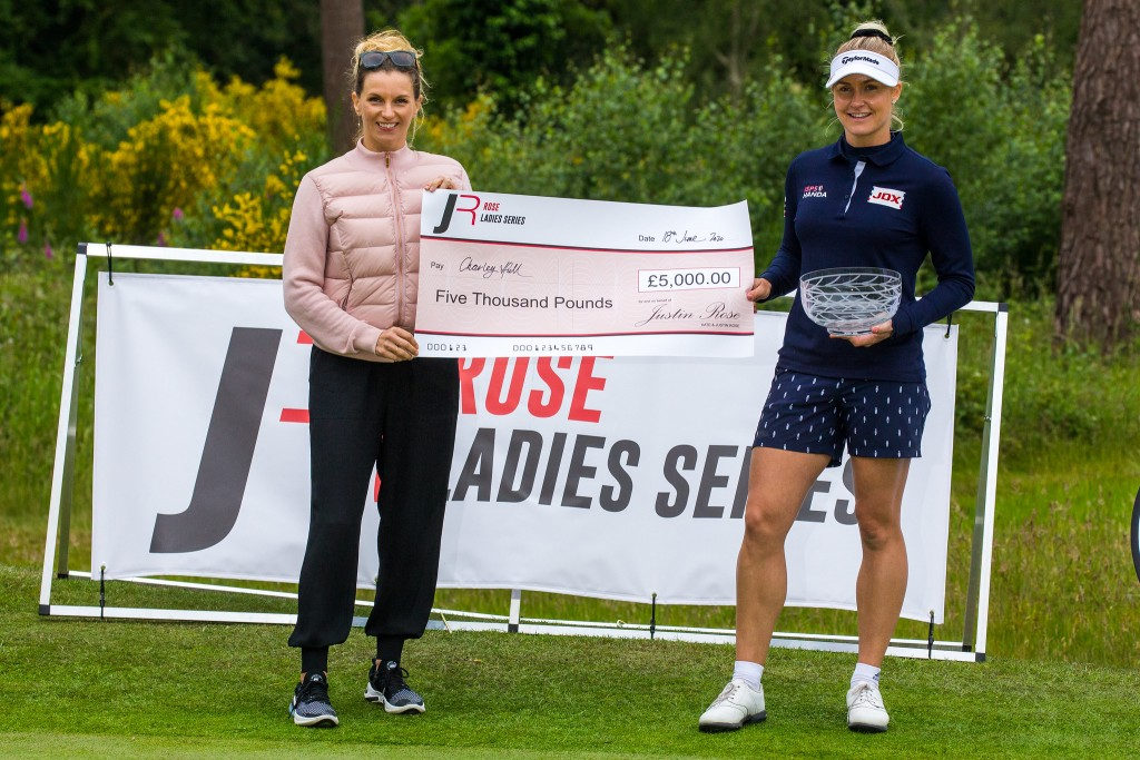 Kate Rose (left) presents Charley Hull with the £5,000 cheque and rose bowl trophy