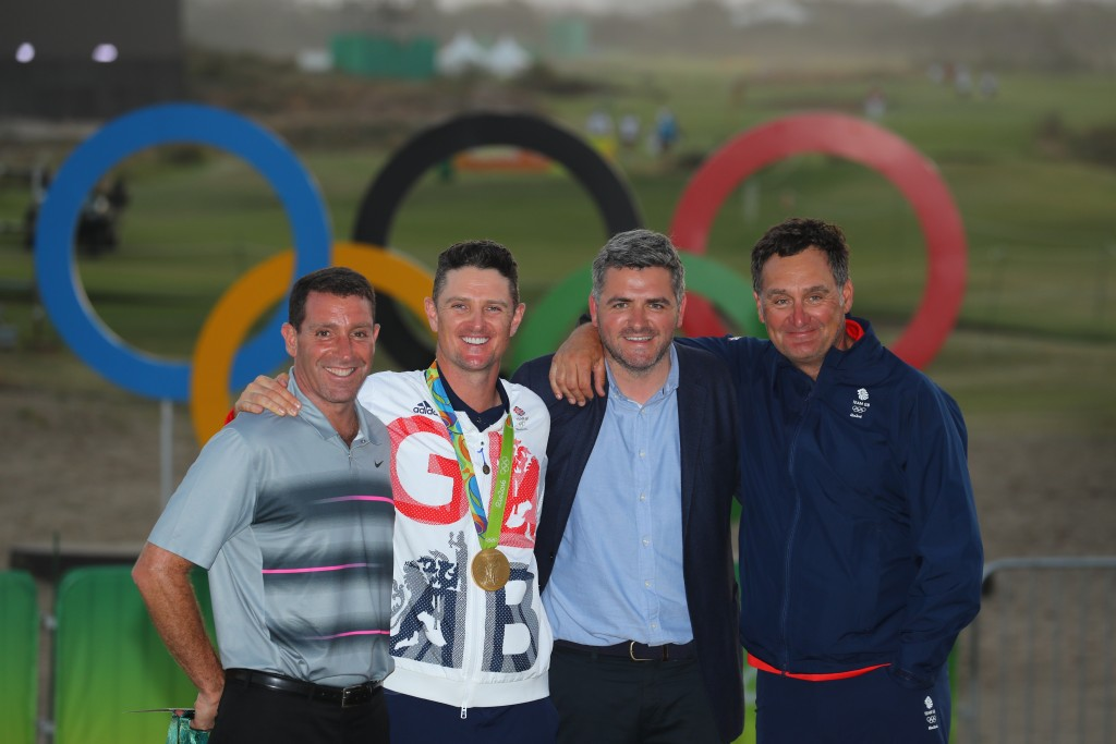 Gold medallist Justin Rose with his support team at the 2016 Rio Olympics