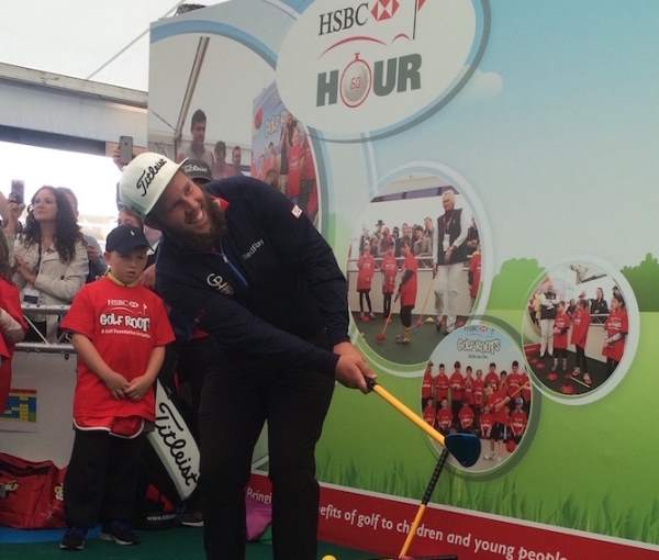 Andrew 'Beef' Johnson supporting the HSBC Golf Roots Trigolf progamme at The Open
