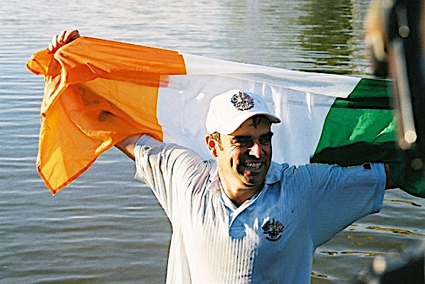Paul McGinley was thrown in the lake by the 18th green at The Belfry after holing the winning putt at the 2002 Ryder Cup