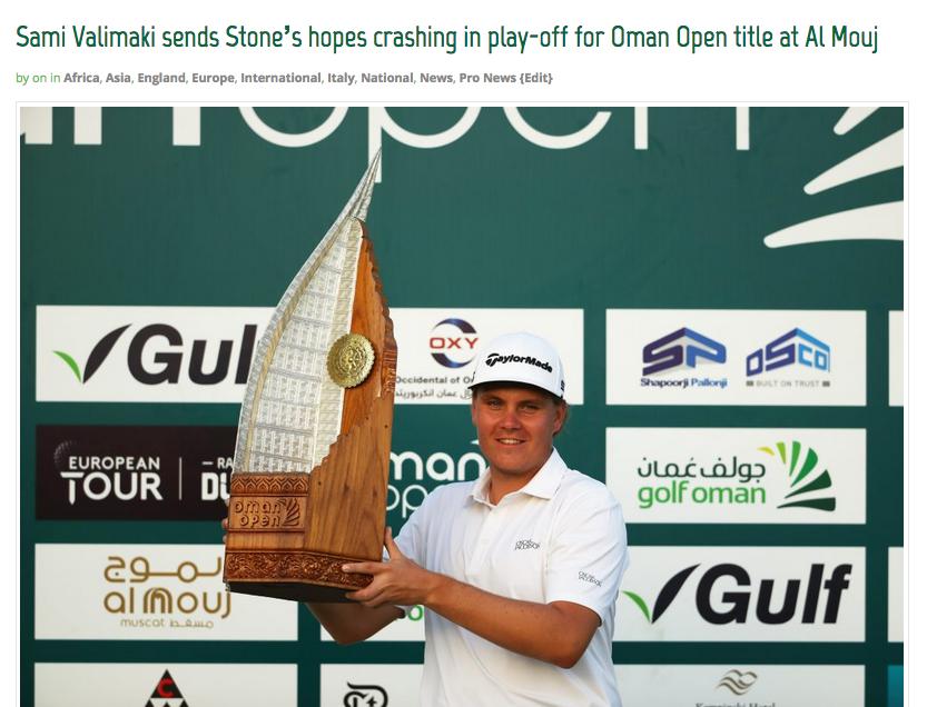 Sami Välimäki, who won the 2020 Oman Open on the European Tour