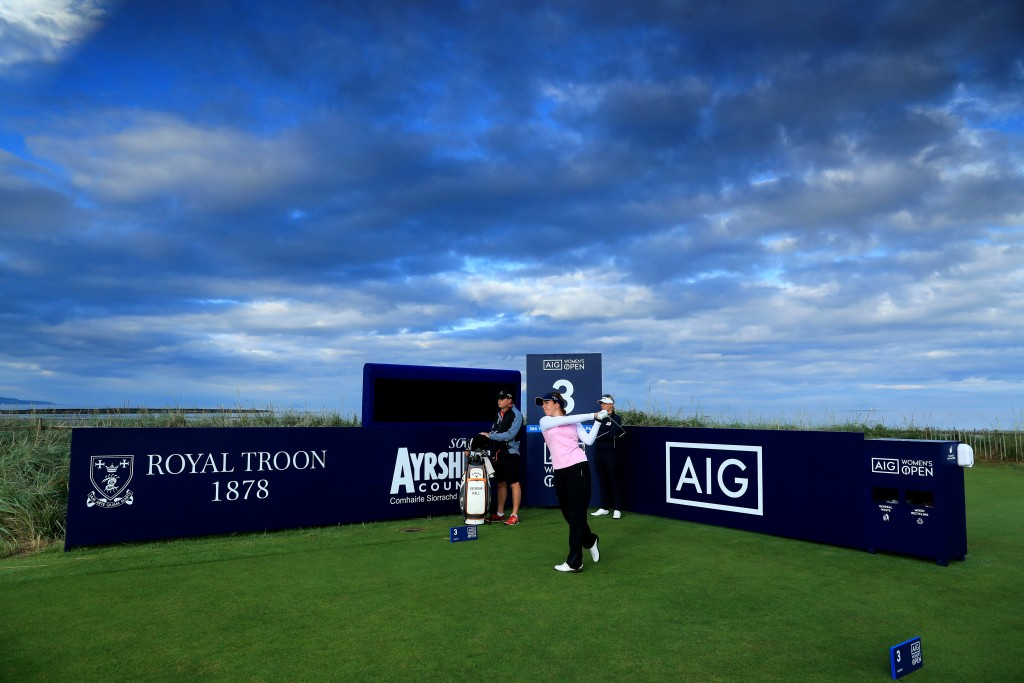 Georgia Hall and Charley Hull in a practice round for the 2020 AIG Women's British Open at Royal Troon