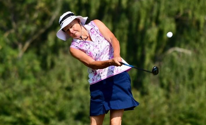 Minchinhampton Golf Club's Jane Rees playing in the second round of the 2020 English Senior Women's Strokeplay Chamionship at Frilford Heath