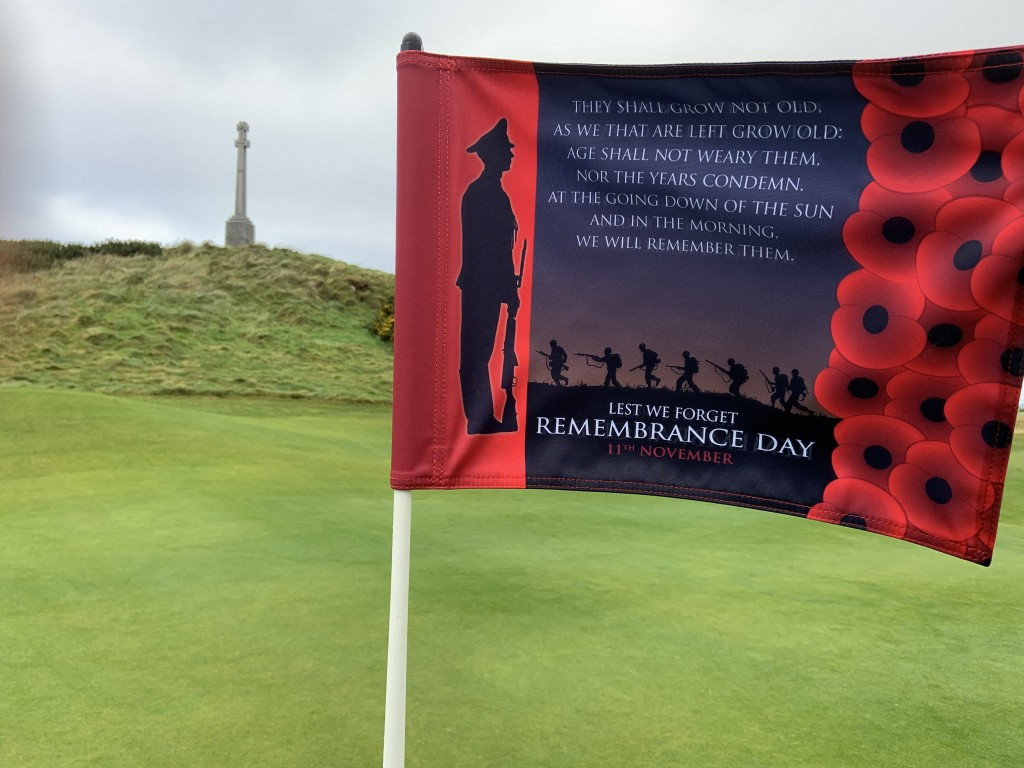 The special Remembrance Day flag flying on the 12th hole close to the RAF Memorial at Turnberry